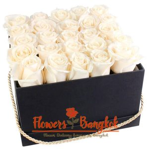 Flower box 25 white roses - Flowers-Bangkok