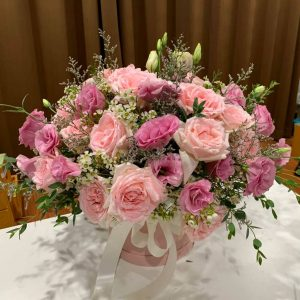 15+15 Pink Roses in Box - Flower Delivery Bangkok